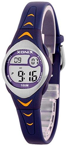 Zauberhafte kleine XONIX Armbanduhr für Mädchen mit Alarm Stoppuhr Timer WR100m, LE/9