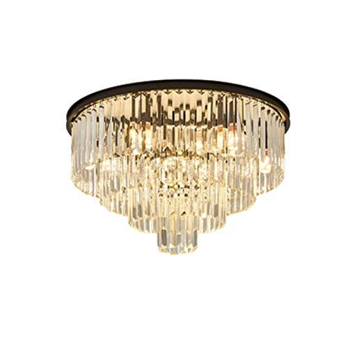 FSYGZJ Éclairage de Lustre en Cristal K9, plafonnier E14 à 9 Ampoules, Luxueux à proximité des plafonniers pour Chambre à Coucher, Couloir, Bar, Cuisine, Salle de Bain - Noir 9 têtes
