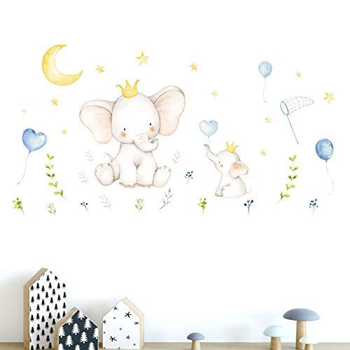 CVG Cartoon Small Elephant Moon Stars Wall Stickers Bedroom Kids Baby Room Nursery Wall Home Decor Removable Wall Decals Art Murals