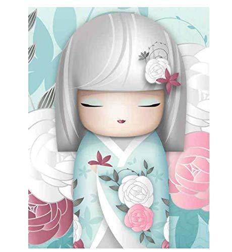 Perforación completa 5D Diy Diamante Pintura Punto de cruz Diamante de dibujos animados Kimono Chica Decoración Home Picture 50 * 70Cm
