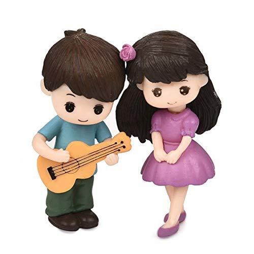 2pcs/Set Miniature Couple Figurines Toys Wedding Figurine Decor Ornament Bonsai Decorative Mini Fairy Garden People Statue Resin Craft(Blue&Purple)
