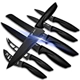 Kitchen Knife Set -Kitchen Knives - 7 Pieces Stainless Steel Black Kitchen Knives for Chefs,...