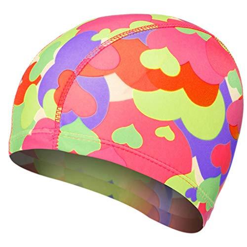 Youliy - Gorro de natación para adultos y niños, elástico, impermeable, con diseño de corazones de colores, impresión digital, protección de orejas de pelo largo, gorro de spa H
