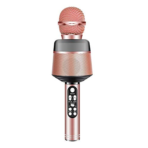 JINGBU Micrófono inalámbrico profesional karaoke KTV reproductor de música cantante grabador de mano Microfone para teléfono Cancelar sonido original oro rosa