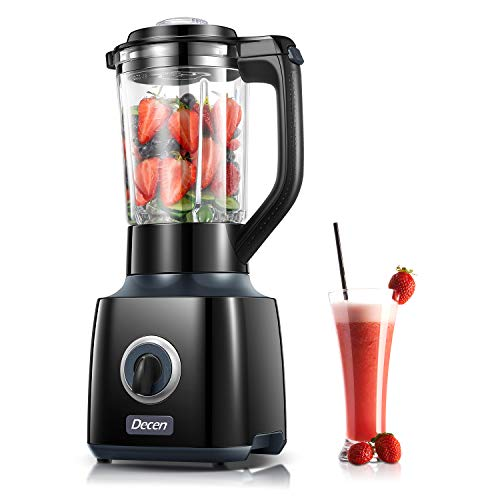 Blender, Decen Smoothie Blender 30000 RPM with 53oz BPA Free Glass Jar, High Speed Blender 4 Titanium Coated Different Edges Stainless Steel Blades for Puree, Ice Crush, Shakes and Smoothies