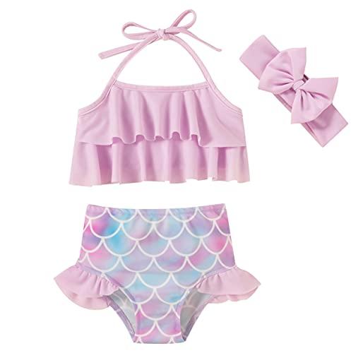 Baby Girls Swimsuit Ruffle Baby Bathing Suits Two Piece Infant Mermaid Bikini for Toddler Beach Swimming Purple