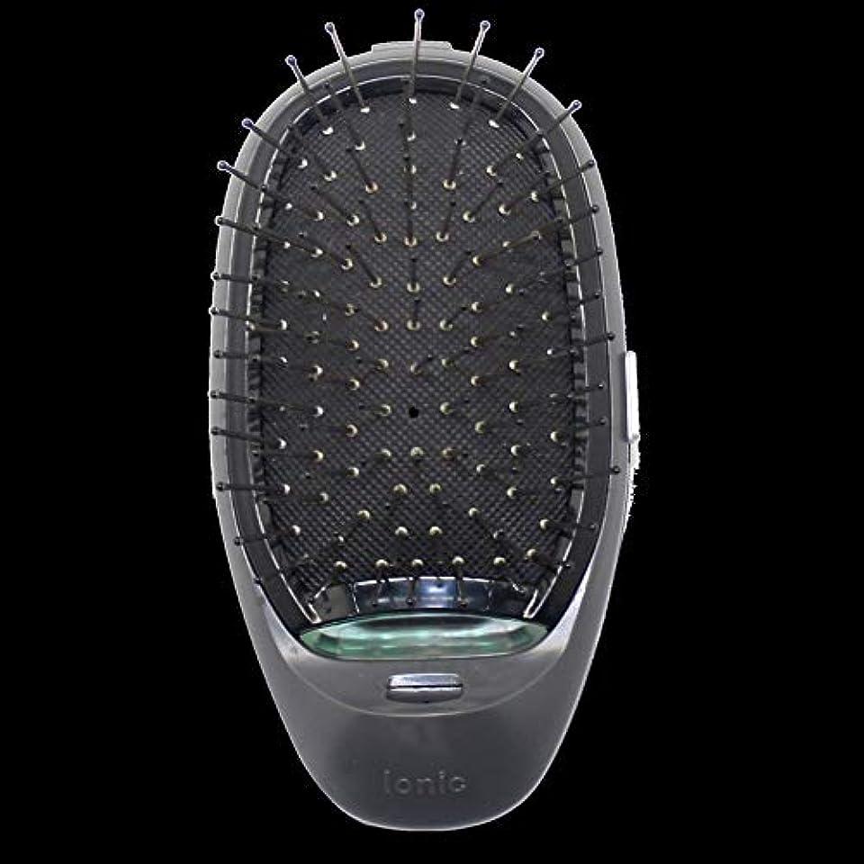 ドキュメンタリー母音同行する電動マッサージヘアブラシミニマイナスイオンヘアコム3Dインフレータブルコーム帯電防止ガールズヘアブラシ電池式 - ブラック