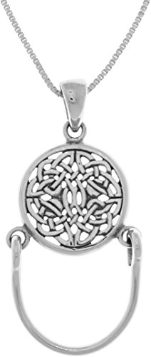 Jewelry Trends Celtic Knotwork Charm Holder Round Sterling Silver Pendant Necklace 18'