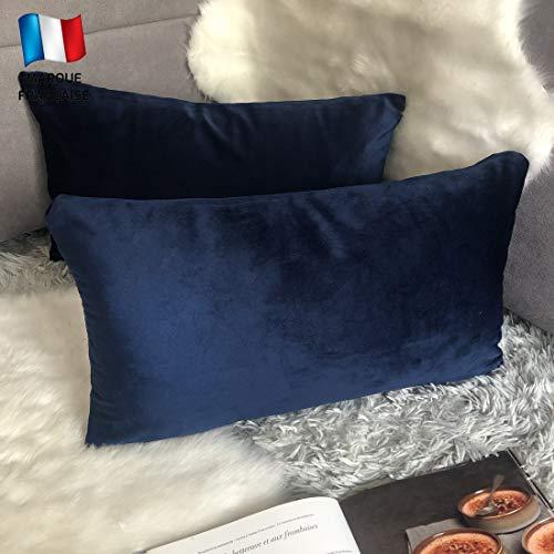 Douceur De Plumes Lot de 2 Housse de Coussin Bleu Marine Velours 30x50 cm Uni, Taie d'oreiller Rectangulaire Doux et Moderne pour Salon Scandinave Mer, Couleur Cobalt foncé (2 Bleu Marine)