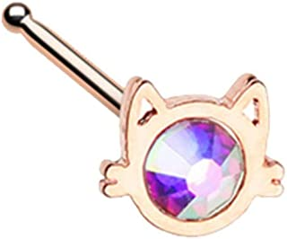 20 GA Rose Gold Iridescent Cat Silhouette Face Nose Stud Ring 316L Stainless Steel Body Jewelry Piercing DavanaBody