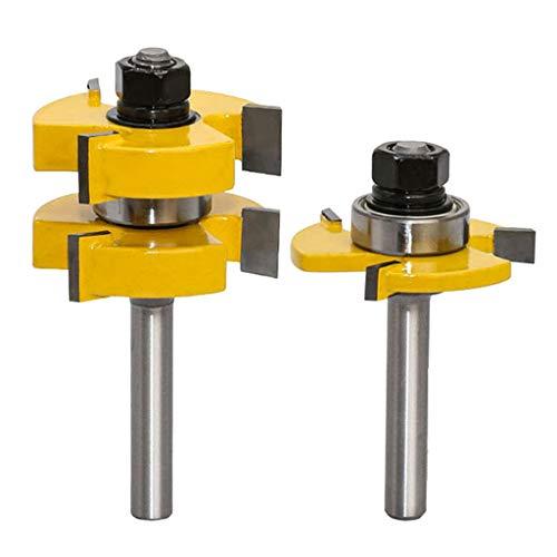 2Stück 8mm Groove und Tongue Zunge Schaft Nut Set Oberfräse Fräser Set für DIY CNC Graviermaschine Trimmmaschine Holzbearbeitung