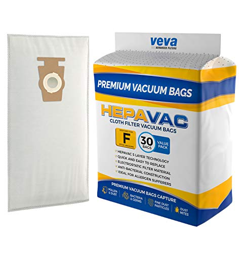 VEVA 30 Pack Premium HEPA Vacuum Bags Style F Cloth Bag Compatible with Kirby Replacement Type F, Q, 204808 204811 Avalir, Sentria I, II, G10D, Ultimate G, Diamond; G3, G4, G5, G6, G7 Cleaners