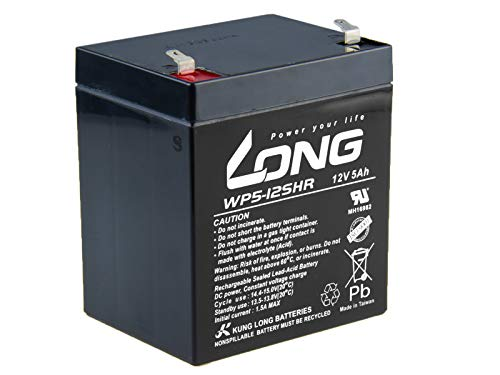 LONG PBLO-12V005-F1AH 12V 5Ah Blei-Säure Akku HighRate (WP5-12SHR F1), 12 V