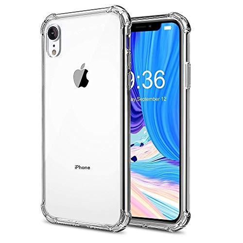REY - Funda Anti-Shock Gel Transparente para iPhone XR, Ultra Fina 0,33mm, Esquinas Reforzadas, Silicona TPU de Alta Resistencia y Flexibilidad