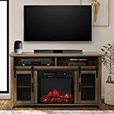 ENSTVER TV Stand for TVs up to 55' with Electric Fireplace Included,Media Storage Television Console for Living Room (Rustic Oak)
