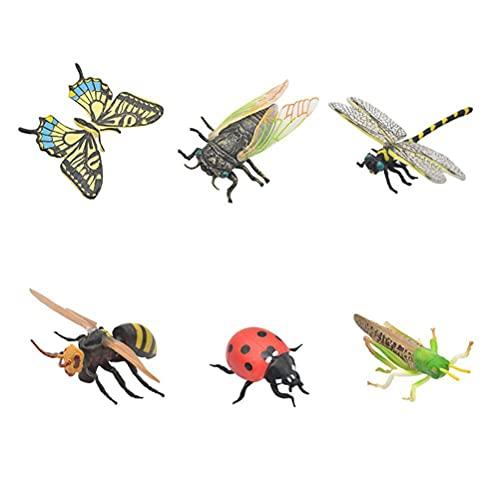 Insektsleksak, science kit för barn, plastmodell verklighetstrogna olika figurer realistisk insektsleksak pedagogisk gåva biologi gåva 6 stycken/set