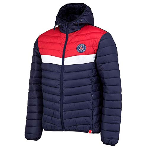 PSG - Chaqueta oficial del Paris Saint-Germain con capucha para niños, color azul y rojo