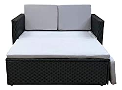 Evre Rattan Garden Love Bed Consists of a Two-Seater sofa, Ottoman, Pillows & Cushions are Included in the Furniture Set. The Set Requires Very Little Maintenance Making it the Perfect Addition to Your Garden. This Option Comes with Black Rattan With...