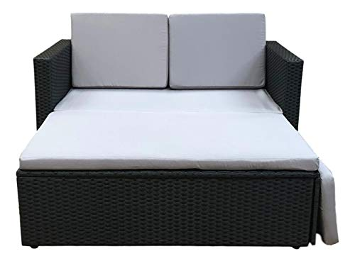 EVRE Outdoor Rattan Garden Love Bed Furniture Set Patio Conservatory (Black)