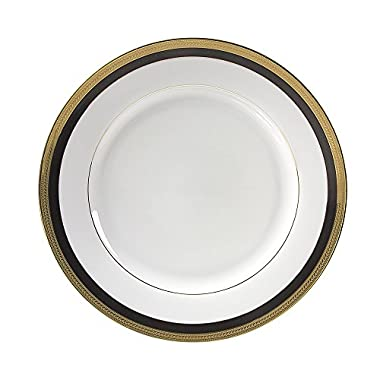 10 Strawberry Street Sahara Black 10.75  Dinner Plate, Set of 6, White/Black/Gold