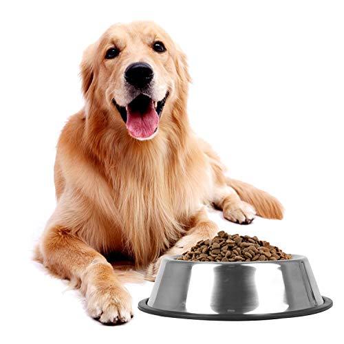 Nobleza Ciotole per Cani in Acciaio Inox, Lotole per Cani con Base in Gomma Antiscivolo, Ciotola per Acqua e Cibo per Cani di Taglia Media/Grande, Ciotola per Mangiatoia per Animali Domestici