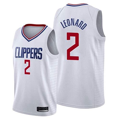 Shelfin Jersey De Hombre Hombres NBA Jersey Clippers No.2 Leonard Jerseys Transpirable Bordado Baloncesto Swingman Jersey (Color : White 2a, Size : S)