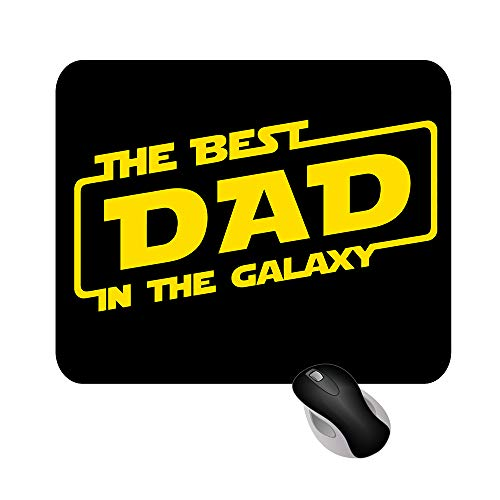 Tappetino Mouse Mousepad The Best Dad in The Galaxy Festa del papà Serie TV 18x22cm Gadget (Nero - Giallo)