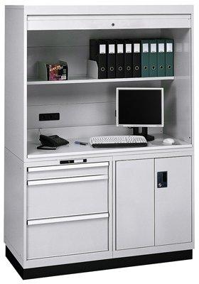 Arbeitsplatzsystem BxTxH 1434x725x1900 mm, RAL 703 5 lichtgrau, 1 Aufsatzschrank mit Rolladen, 1 Schu
