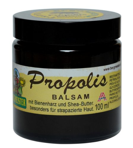 Propolisbalsam mit Bienenharz und Sheabutter für Wund- und Narbenpflege, intensive Qualität - 100 ml Glastiegel von HF