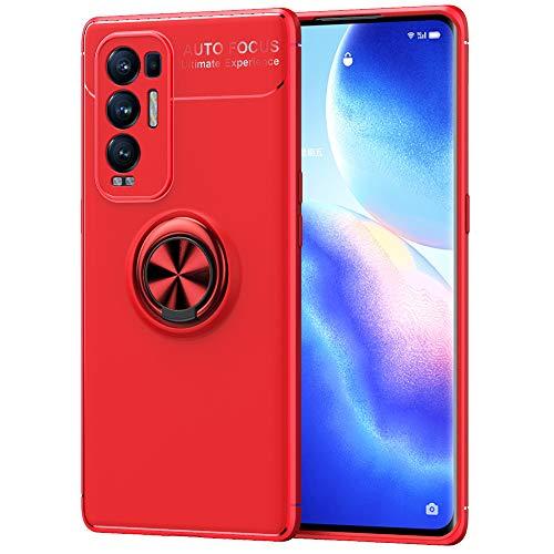 ALAMO Silikon Hülle für Oppo Find X3 Neo, StoßFest Handyhülle mit Ring Halterung - Rot