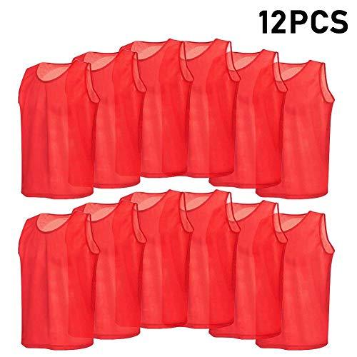 VGEBY 12er Set Erwachsene Fußball Trainingsweste Trainingsleibchen Markierungshemd für Volleyball Fußball Basketball (Farbe : Rot)