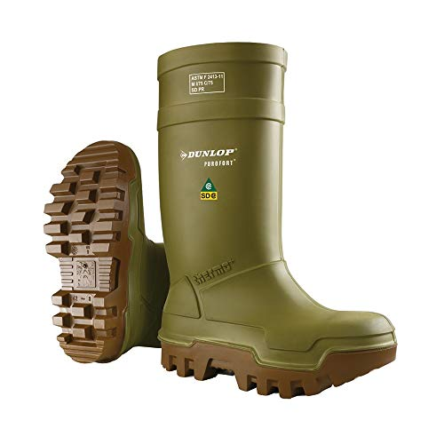 Dunlop E66284309 Purofort Thermo+ Full Safety Omega EH Cold Protection Boot, Premium Insole, -58°F Cold Insulation, Steel Toe Cap, Green Brown, Men Size 9 Women Size 11