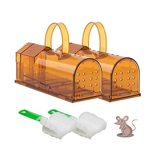 Halcyerdu 2Pcs Trampa para ratón, Plástico Tiradores, Ratonera, Reutilizable Ratonera de plástico de Transparente,para Interior Exterior Cocina Jardín Ático