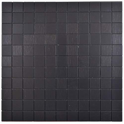 Selbstklebnde Mosaikmatte Quadrat Alu Black Brushed für WAND KÜCHE Wandverblender Fliesenspiegel Verkleidung | 10 Matten