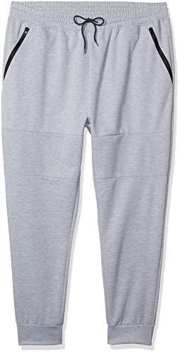 Southpole Men's Tech Fleece Basic Jogger Pants-Reg and Big & Tall Sizes, Heather Grey Panel, Large