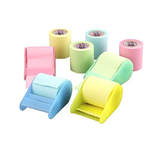 Nota adhesiva,4 rollos adhesivos de notas adhesivas con dispensadores ,y 4 Papel de nota de repuesto, Utilizado para estudio, oficina, escuela, recordatorio del hogar.