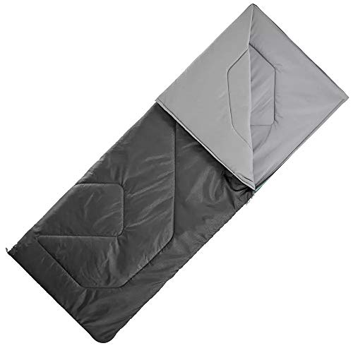 Quechua Schlafsack Camping Arpenaz 15° Schwarz 190 cm x 72 cm Durchgehender Reißverschluss Camping Schlafen Decken zelte Kinder Erwachsene Herren Damen Reisen gemütlich