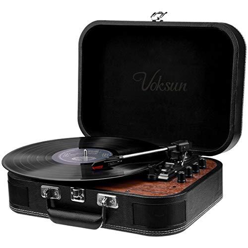 Tocadiscos de Vinilo,VOKSUN Tocadiscos Bluetooth y codificador Digital con 3 velocidades 33/45/78 RPM incorporadas 2 Altavoces estéreo Aux-In RCA, diseño de Estuche (Cuero)