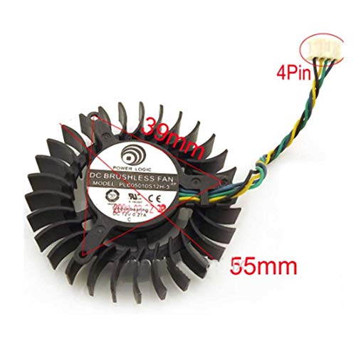 QHXCM DC BRUSHLESS Fan PLB05010S12H-3 12V 0.27A 55mm 9800GT 7800GTX GTS 240 Graphics Card Cooling Fan Cooler 4Wire 4Pin