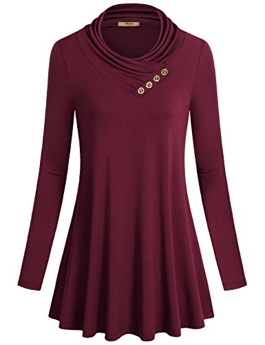 Miusey Cowl Neck Tunic, Women's Long Sleeve Loose Fit Flared Vintage Tunic Shirt...