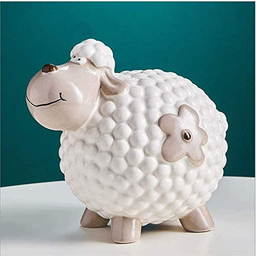 XBR 2021 Nuevo Money Banks Hucha de cerámica, Moneda de la Hucha de ovejita, Capacidad 400 Monedas, Disponible, para niñas, Niño, Festivales Caja de Dinero de Regalo Hucha (Color: Oveja Tipo C)