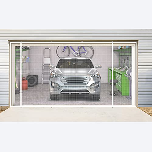 Garage Door Screens with Double Magnets Opening 16x7ft White, 2 Car Garage Screen with Heavy Duty Mesh Roll up Convenient Garage Door Screen
