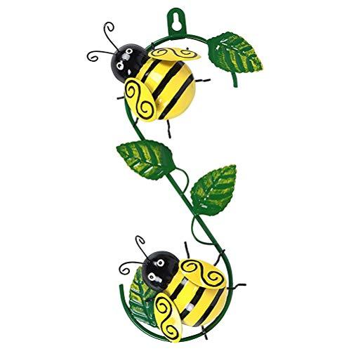 Adorno de Pared de Abeja de Metal de jardín para Colgar en la Pared Esculturas Decorativas de Insectos para Decoración de la Sala de Estar del Patio de la Pared al Aire Libre
