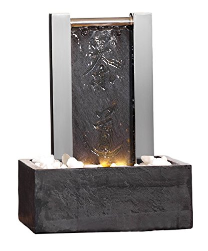 Seliger Schiefer-Edelstahlbrunnen Calgary, 29 x 20,5 x 13,5 cm