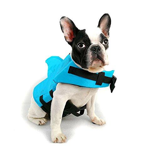 FONLAM Chaleco Salvavidas para Perros Mascotas Chaqueta Chaleco de Seguridad Perro Perrito con Aleta de Tiburón Ropa de Baño (Azul, Medium)
