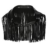 EXCEART Falda de Cinturón de Flecos de Mujer Faldas Negras de Cuero Cinturones de Cadena de Cintura de Borla Faldas de Cadera de Mujer Traje Rave de Festival Adultos Parejas Juguete