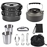 Blueshyhall 10pcs Camping Cookware Mess Kit, with Stove Pot Pan Bowls Sporks Cup Set for Backpacking Camping Outdoor Hiking and Survival, Lightweight and Durable (Black)