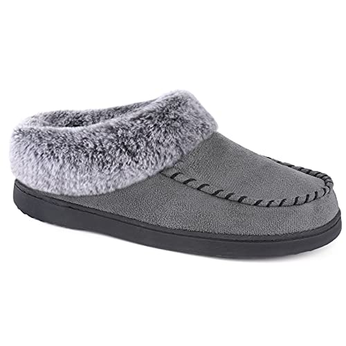 ULTRAIDEAS Women's Micro Suede Slippers with Memory Foam and Cozy Faux Fur Lining (Grey, 9-10)