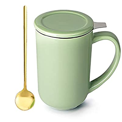Tea Mug with Stainless Steel Spoon, Infuser and Lid - Ceramics Loose Leaf Tea Steeping Cups for Office and Home, 16OZ (Mint Green)
