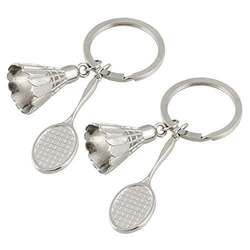 EQLEF Metall-Badminton Schlüsselanhänger 3D-Badminton Schlüsselanhänger Key-Organizer für Badminton-Liebhaber / 2 PCS